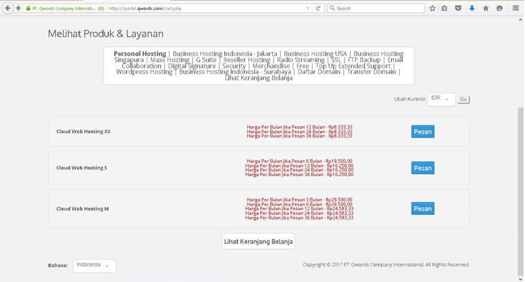 paket harga hosting Qwords com
