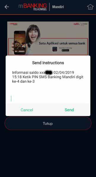 Cara cek saldo bank mandiri di aplikasi mBanking Telkomsel 2