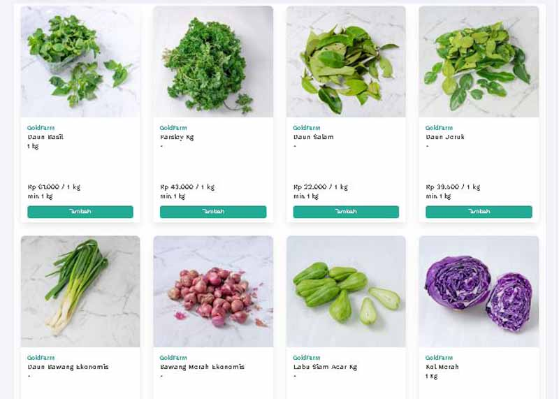 Aplikasi belanja sayur online - TaniHubcom
