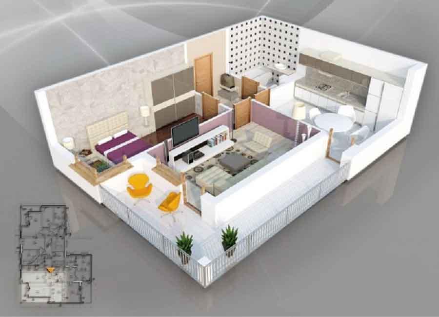 gambar contoh Desain Rumah Tipe 21 - one-bedroom-house-plan - facebook.com qbwizualizacje